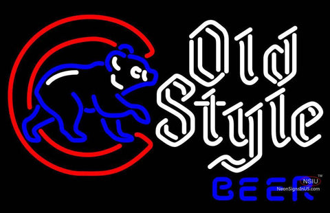 Old Style Chicago Cubs Walking Cubby Neon Beer Sign