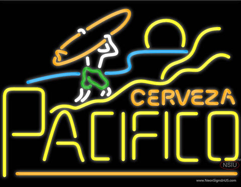 Cerveza Pacifico Surfer Sunset Neon Beer Sign