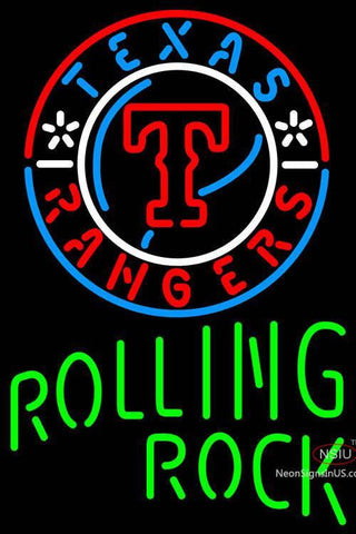 Rolling Rock Single Line Texas Rangers MLB Neon Sign