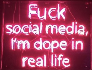 social media i'm dope in real life neon sign