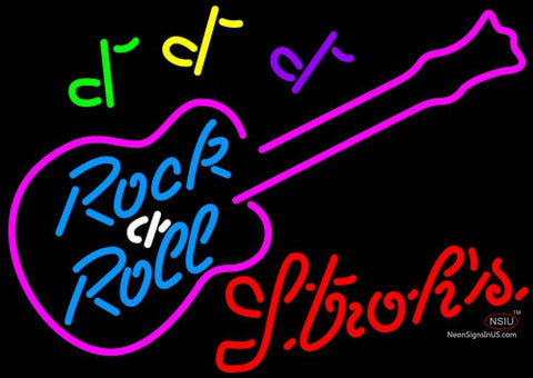 Strohs Rock N Roll Pink Guitar Neon Sign 12 0026
