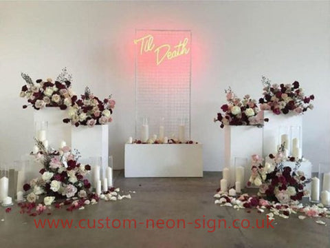 Til Death Pink Wedding Home Deco Neon Sign
