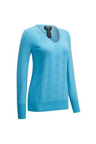 Callaway Ladies V Neck Sweater - Blue