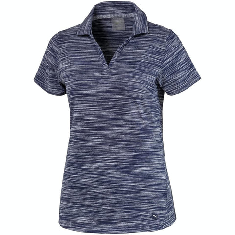 Puma Ladies Heather Slub Polo - Peacoat / Heather