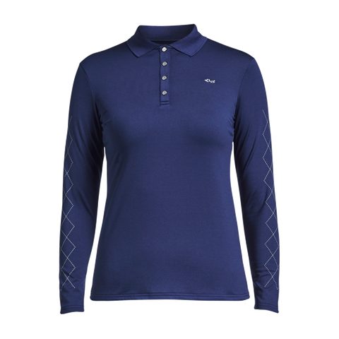 Rohnisch Argyle Long Sleeve Polo - Indigo Night - AW2018