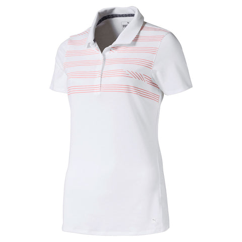 Ladies Step Stripe - White- Pink