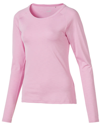 Ladies Puma Long Sleeve Crew Polo - Pink