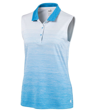 Ladies Puma Ombre Sleeveless Polo - Blue