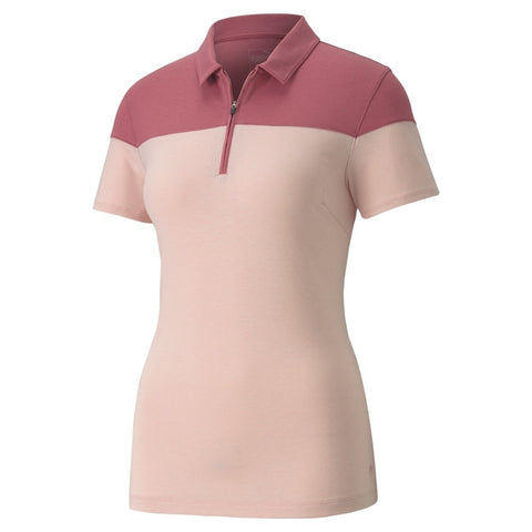 Ladies  Colourblock Polo- Pink Heather