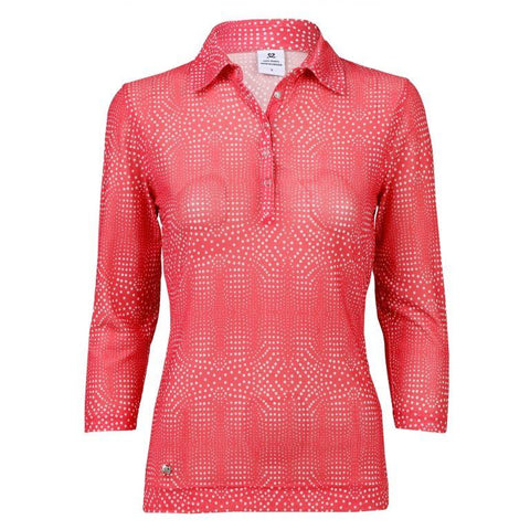 Daily Sports  - Aggie  Mesh 3/4 sleeve Polo Shirt - Watermelon