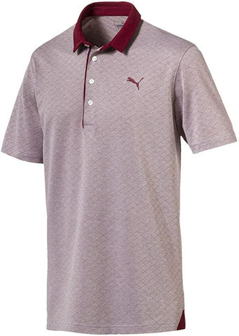 Puma Bonded Diamond Jacquard Polo - Pomegranate