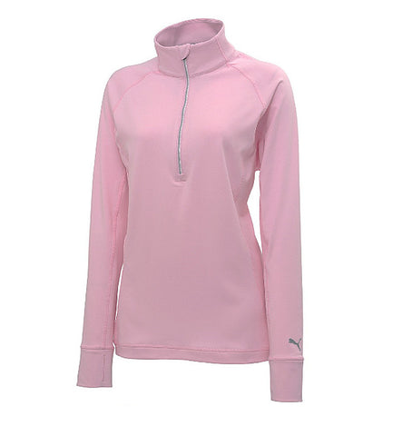 Puma Ladies Proven 1/4 Zip Jersey Top - Pale Pink