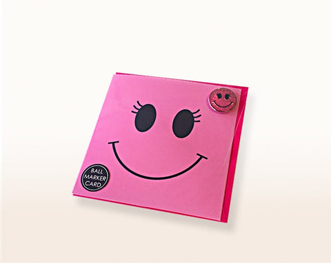 Surprizeshop Ball Marker Greeting Card - Pink Smiley