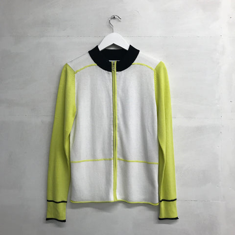 Green Lamb Beverley Zipped Cardigan - White/Lime - SS2015