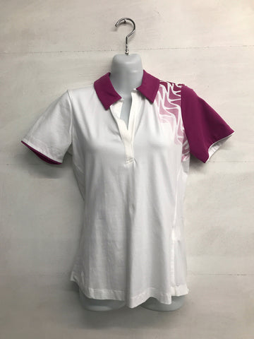 Galvin Green Marilyn Polo Shirt - White/Deep Orchid - Pre2014