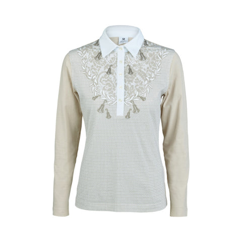 Daily Sports Long Sleeve Tiara Polo Shirt - White/Beige - AW2017