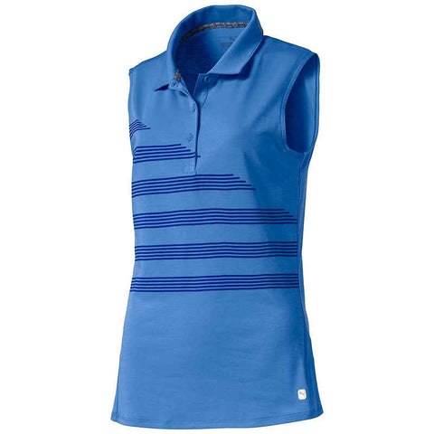 Ladies Step Stripe Sleeveless Polo - Blue Glimmer