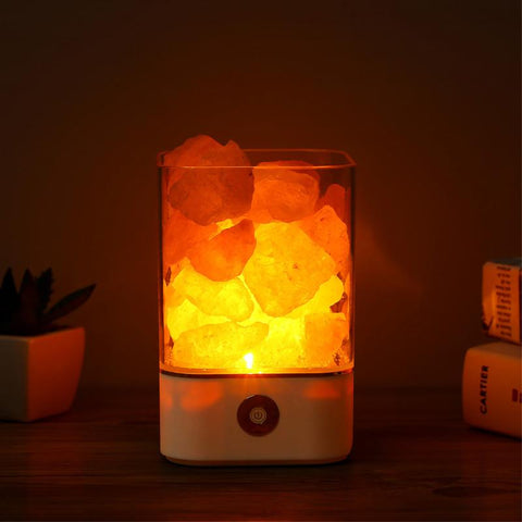 USB Crystal Light natural himalayan salt lamp l-BohoBlissStore-BohoBlissStore