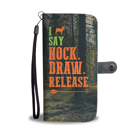 Bowhunting Nock Draw Wallet Phone Case