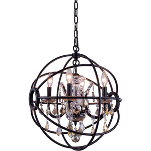 Geneva 17 Crystal Mini Pendant With 4 Lights - Dark Bronze Finish And Smokey Crystal Pendant