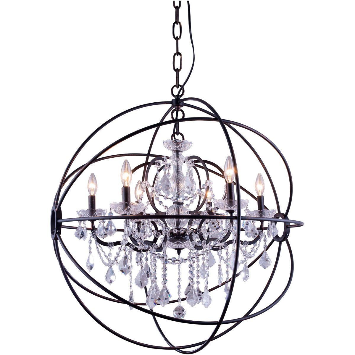 Geneva 32 Crystal Pendant Chandelier With 6 Lights - Dark Bronze Finish And Clear Crystal Chandelier