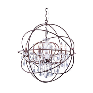 Geneva 32 Crystal Pendant Chandelier With 6 Lights - Rustic Intent Finish And Clear Crystal Chandelier