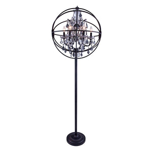 Chelsea 72 Crystal Floor Lamp With 6 Lights - Dark Bronze Finish And Grey Crystal Floor Lamp