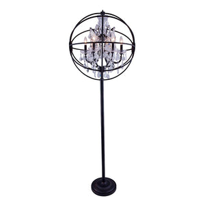 Chelsea 72 Crystal Floor Lamp With 6 Lights - Dark Bronze Finish And Clear Crystal Floor Lamp