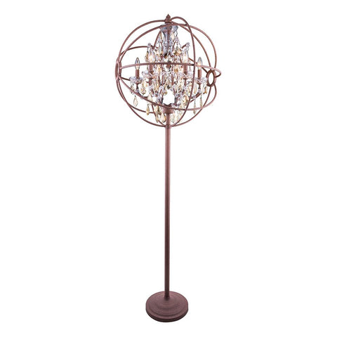 Chelsea 72 Crystal Floor Lamp With 6 Lights - Rustic Intent Finish And Smokey Crystal Floor Lamp