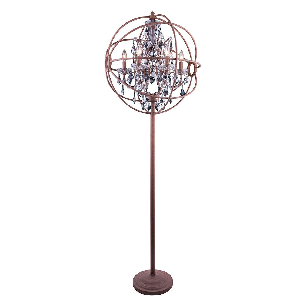 Chelsea 72 Crystal Floor Lamp With 6 Lights - Rustic Intent Finish And Grey Crystal Floor Lamp