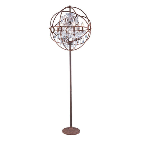 Chelsea 72 Crystal Floor Lamp With 6 Lights - Rustic Intent Finish And Clear Crystal Floor Lamp