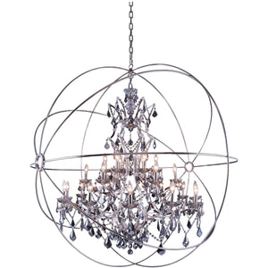 Geneva 60 Crystal Pendant Chandelier With 25 Lights - Polished Nickel Finish And Grey Crystal Chandelier