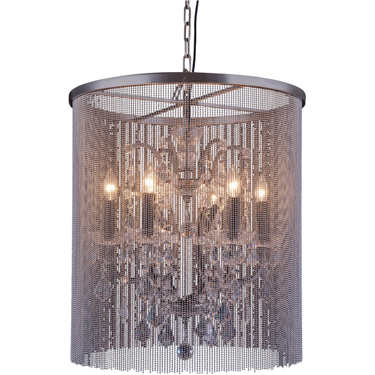 Brooklyn 22 Crystal Pendant Chandelier With 6 Lights - Matte Black Finish Chandelier