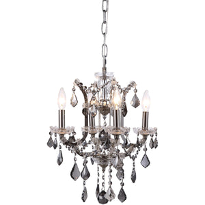 Elena 13 Crystal Mini Chandelier With 4 Lights - Polished Nickel Finish And Grey Crystal Chandelier