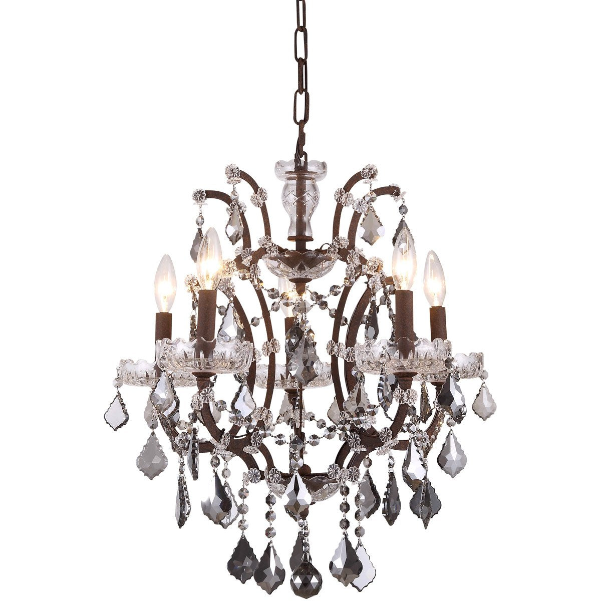 Elena 18 Crystal Mini Chandelier With 5 Lights - Rustic Intent Finish And Grey Crystal Chandelier