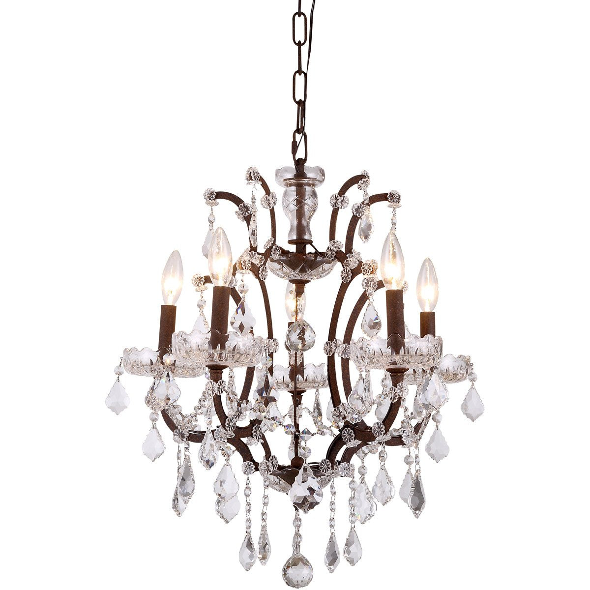 Elena 18 Crystal Mini Chandelier With 5 Lights - Rustic Intent Finish And Clear Crystal Chandelier