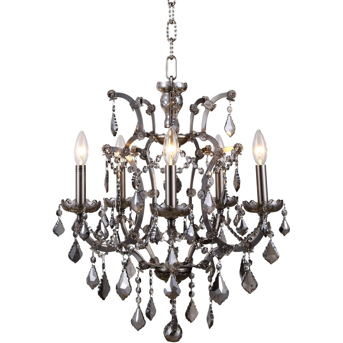 Elena 18 Crystal Mini Chandelier With 5 Lights - Raw Steel Finish And Grey Crystal Chandelier