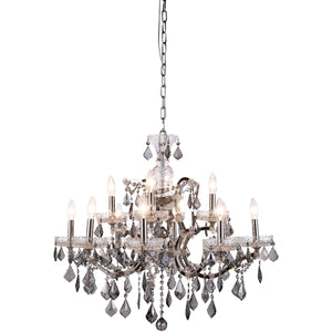 Elena 26 Crystal Chandelier With 12 Lights - Polished Nickel Finish And Grey Crystal Chandelier