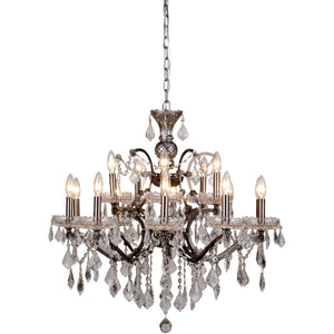 Elena 30 Crystal Chandelier With 15 Lights - Raw Steel Finish And Clear Crystal Chandelier