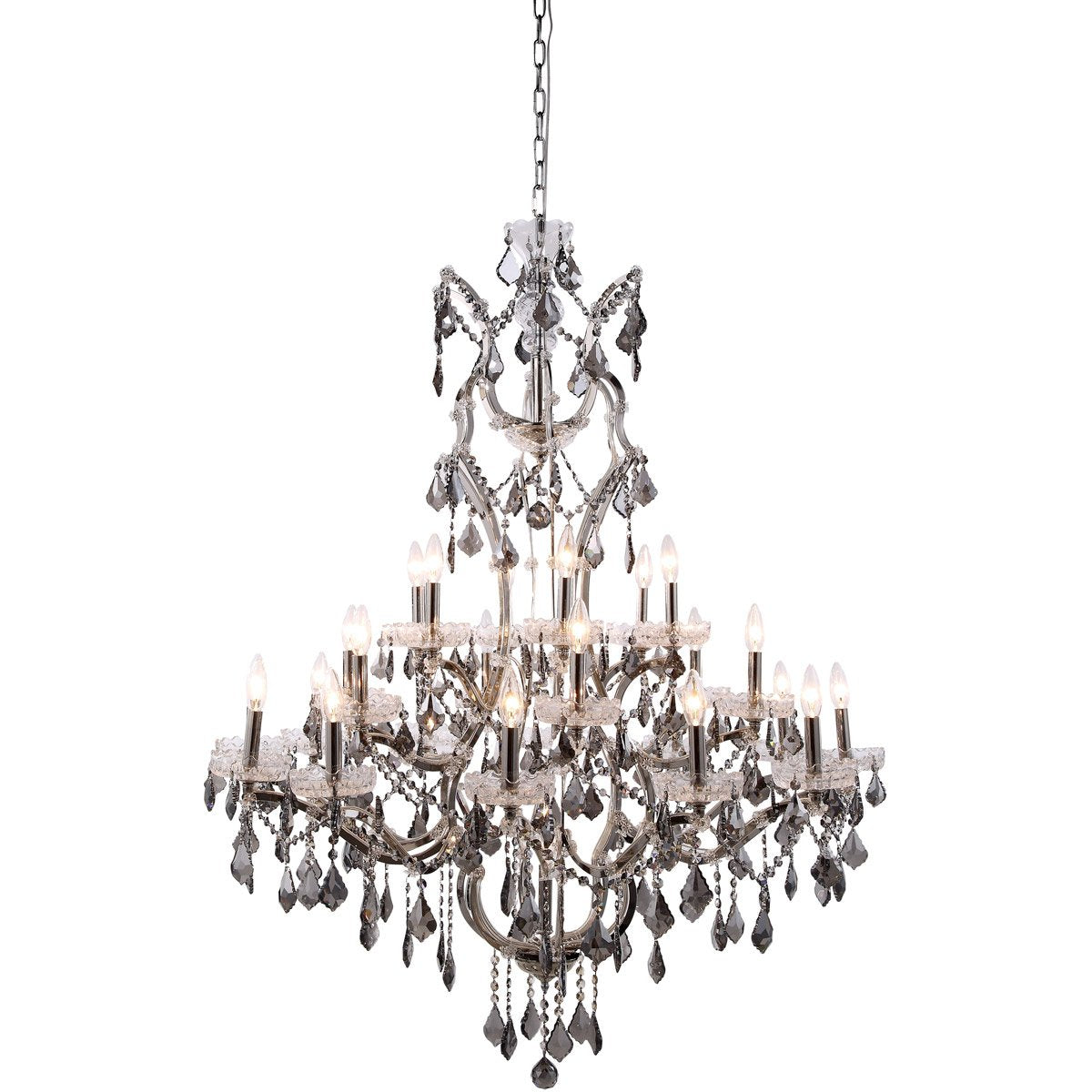 Elena 41 Crystal Chandelier With 25 Lights - Polished Nickel Finish And Grey Crystal Chandelier