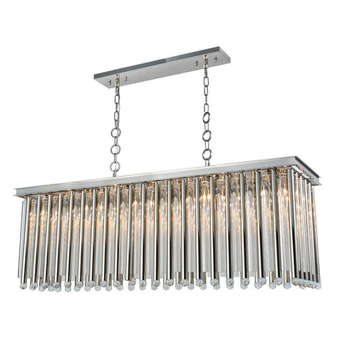 Maxwell 50 Crystal Island Chandelier With 10 Lights - Polished Nickel Finish Pendant