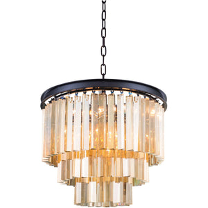 Sydney 20 Crystal Pendant Chandelier With 9 Lights - Matte Black Finish And Smokey Crystal Chandelier