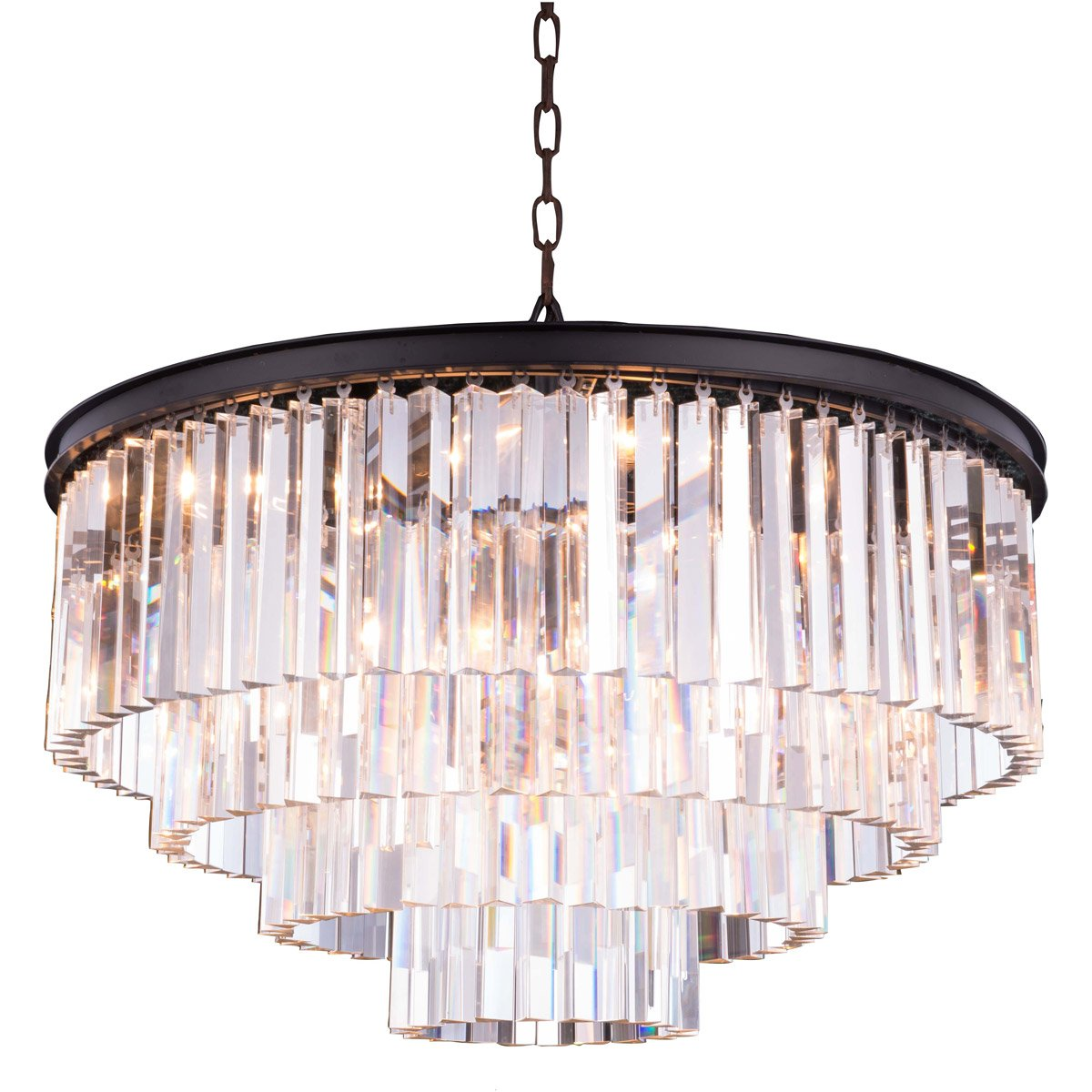 Sydney 32 Crystal Pendant Chandelier With 8 Lights - Matte Black Finish And Clear Crystal Chandelier