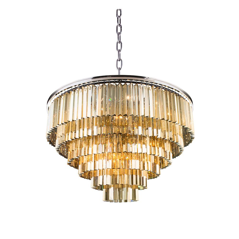 Sydney 44 Crystal Pendant Chandelier With 33 Lights - Polished Nickel Finish And Smokey Crystal Chandelier