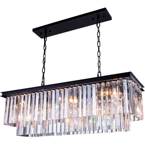Sydney 40 Crystal Island Pendant Chandelier With 12 Lights - Matte Black Finish And Clear Crystal Chandelier
