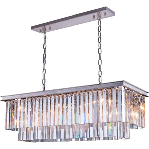 Sydney 40 Crystal Island Pendant Chandelier With 12 Lights - Polished Nickel Finish And Clear Crystal Chandelier