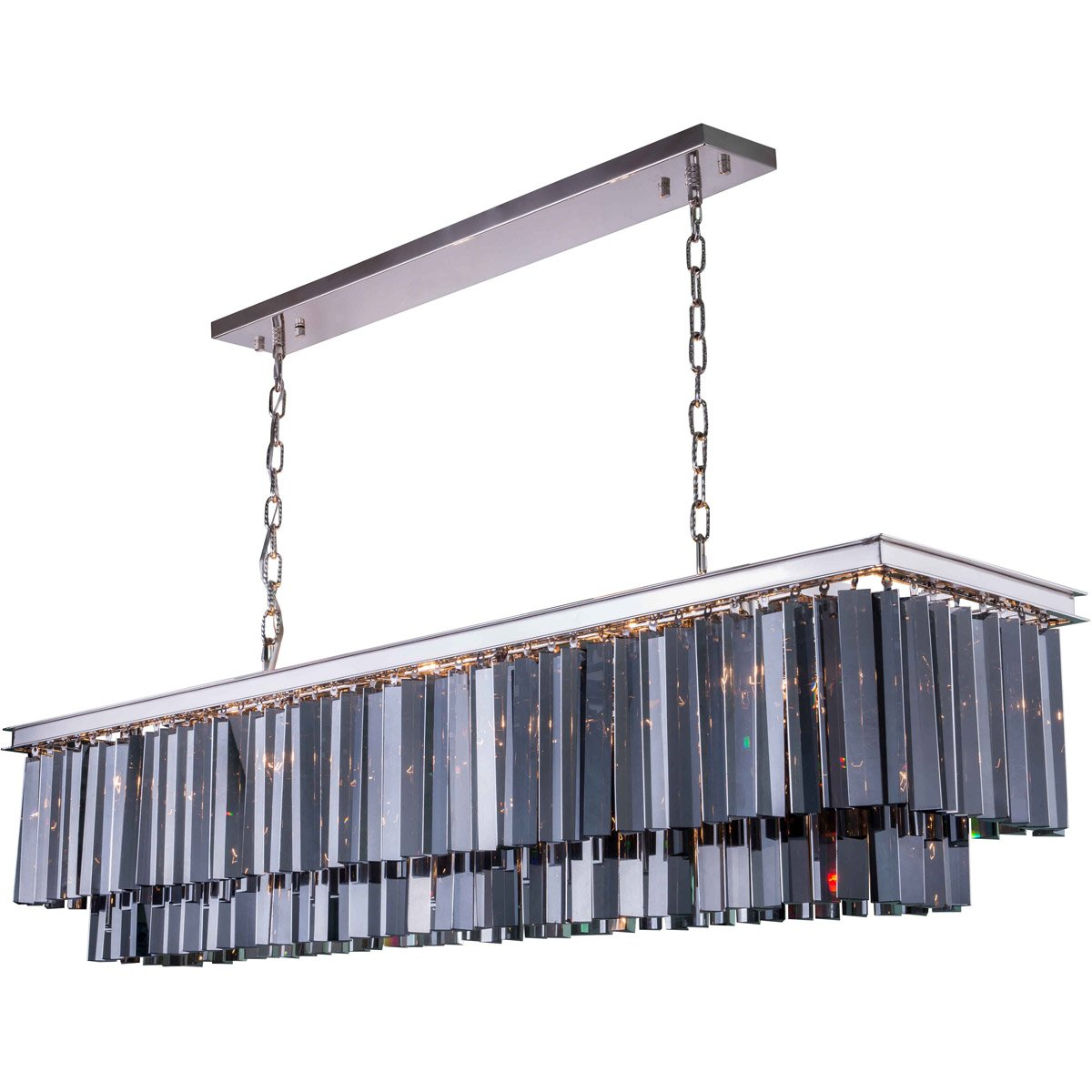 Sydney 60 Crystal Island Pendant Chandelier With 12 Lights - Polished Nickel Finish And Grey Crystal Chandelier