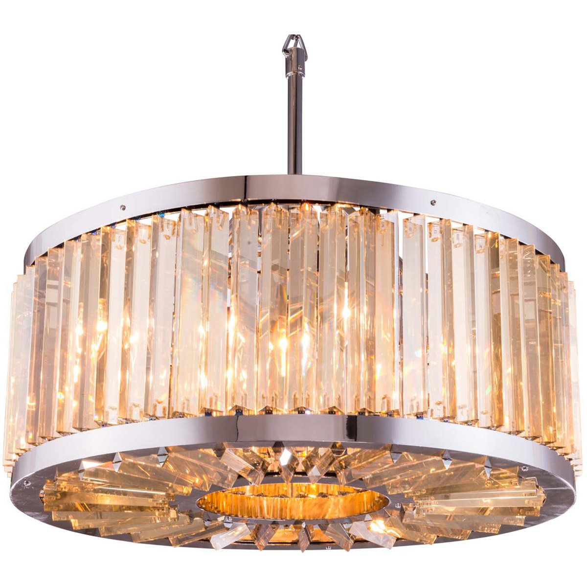 Chelsea 28 Crystal Pendant Chandelier With 8 Lights - Polished Nickel Finish And Smokey Crystal Chandelier