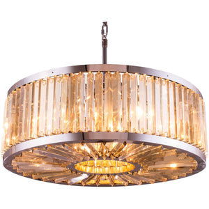 Chelsea 36 Crystal Pendant Chandelier With 10 Lights - Polished Nickel Finish And Smokey Crystal Chandelier