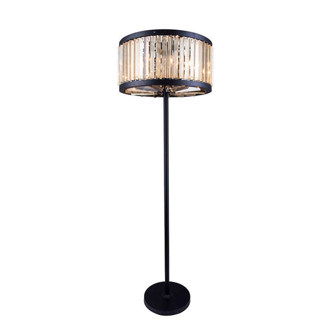 Chelsea 72 Crystal Floor Lamp With 6 Lights - Matte Black Finish And Smokey Crystal Floor Lamp